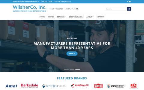 Screenshot of Home Page wilsherco.com - WilsherCo, Inc. - Industrial Heating Products | Heating Solutions - captured Nov. 15, 2018