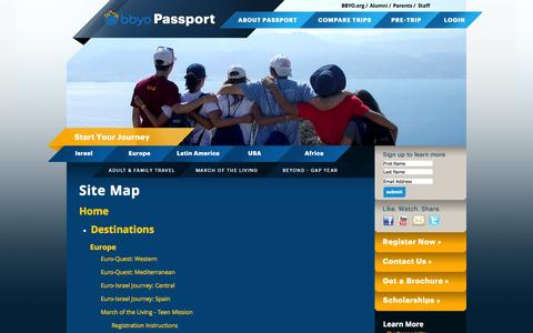 Screenshot of Site Map Page bbyo.org - BBYO Passport: Site Map - captured Sept. 25, 2014