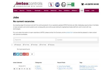 Screenshot of Jobs Page imtex-controls.com - Jobs - Imtex Controls - captured Oct. 4, 2014