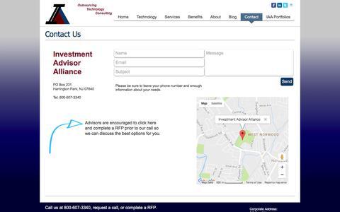 Screenshot of Contact Page investmentadvisoralliance.com - IAA | Contact - captured Aug. 6, 2016