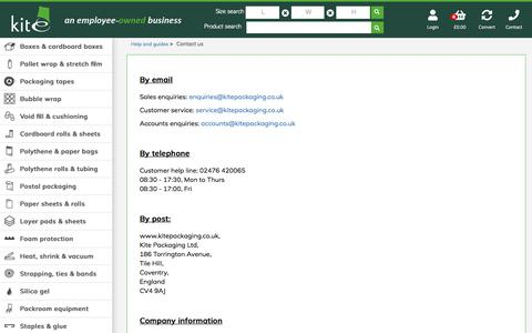 Screenshot of Contact Page kitepackaging.co.uk - Contact Us   Information & Advice   Kite Packaging - captured Sept. 8, 2018