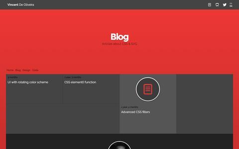 Screenshot of Blog iamvdo.me - Blog - Vincent De Oliveira - CSS, SVG & UI - captured Nov. 23, 2016