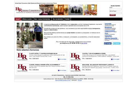 Screenshot of Home Page hrimmocommerces.com - Fonds de commerce PARIS - HR IMMO COMMERCES - Hôtels, Restaurants, Sandwicherie à vendre. Paris - Ile de France - captured Sept. 26, 2014