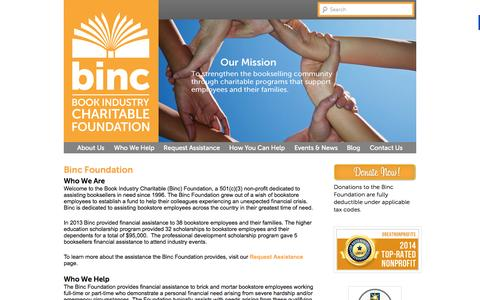 Screenshot of Home Page bincfoundation.org - Help for Booksellers - Book Industry Charitable Foundation | Binc - captured Oct. 4, 2014