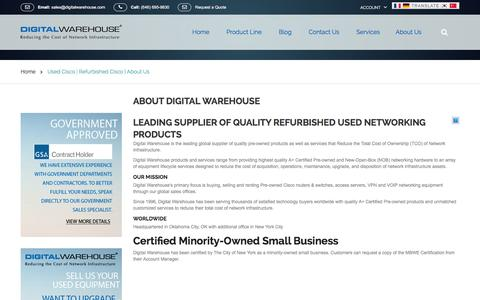 Screenshot of About Page digitalwarehouse.com - Used Cisco | Refurbished Cisco | About Us - captured Jan. 7, 2016