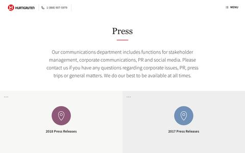 Screenshot of Press Page hurtigruten.com - Press | Hurtigruten - captured July 24, 2018