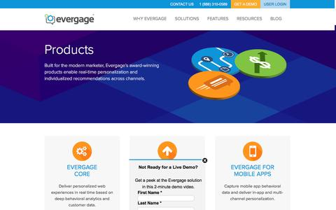 Screenshot of Products Page evergage.com - Evergage | Products for Real-Time Personalization - captured July 22, 2016