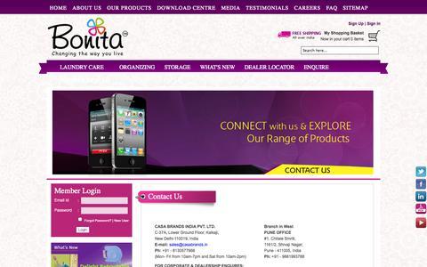 Screenshot of Contact Page bonitaindia.com - Contact Us - Information For Casa Brands : Bonita India - captured Oct. 10, 2014