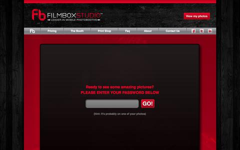 Screenshot of Login Page filmboxstudio.com - View my photos | FilmboxStudio™ | Leader in Mobile Photobooths - captured Sept. 30, 2014