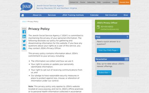Screenshot of Privacy Page jssa.org - Privacy Policy | Jewish Social Service Agency (JSSA) - captured Oct. 6, 2014