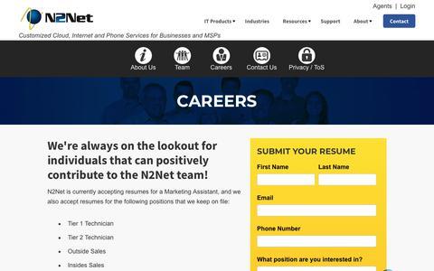 Screenshot of Jobs Page n2net.net - Careers at N2Net | Company - captured Nov. 18, 2018