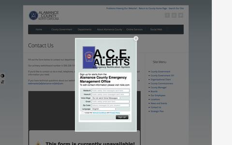 Screenshot of Contact Page alamance-nc.com - Contact Us | Alamance County, North Carolina - captured Nov. 20, 2016