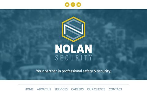 Screenshot of Home Page About Page Contact Page Services Page Jobs Page nolansecurity.net - Nolan Security - captured Oct. 7, 2014