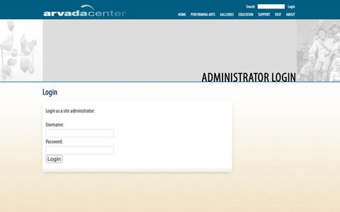 Screenshot of Login Page arvadacenter.org - Login - captured Oct. 4, 2018