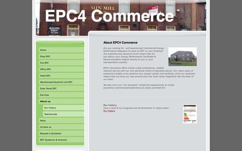 Screenshot of About Page epc4commerce.co.uk - Commercial energy performance certificates EPCs for shops, offices, hotels, warehouses, Industrial units - captured Dec. 6, 2015