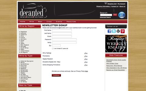 Screenshot of Signup Page decantedwines.com - Decanted Wine & Beer of Naples, Florida Newsletter Registration - captured Oct. 5, 2014