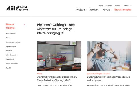 Screenshot of Press Page aeieng.com - News & Insights   Affiliated Engineers - captured Dec. 12, 2018
