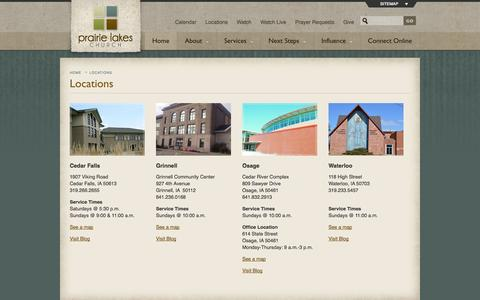Screenshot of Locations Page prairielakeschurch.org - Prairie Lakes Church has locations in Cedar Falls, Grinnell, Osage and Waterloo, Iowa - captured Oct. 3, 2014