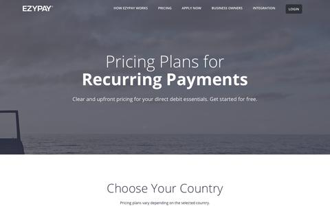 Screenshot of Pricing Page ezypay.com - Pricing Plans | Ezypay - captured July 24, 2018