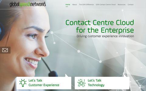 Screenshot of Home Page globalspeechnetworks.com.au - Global Speech Networks: Contact Centre Cloud - captured Nov. 5, 2018