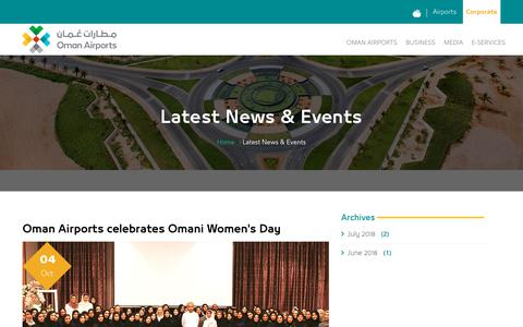 Screenshot of Press Page omanairports.co.om - Latest News & Events - Oman Airport - captured Oct. 18, 2018