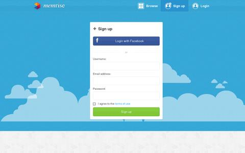 Screenshot of Signup Page memrise.com - Sign up - Memrise - captured July 21, 2014