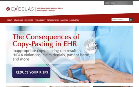 Screenshot of Home Page excelas1.com - Medical Legal Solutions    Excelas - captured Sept. 29, 2018
