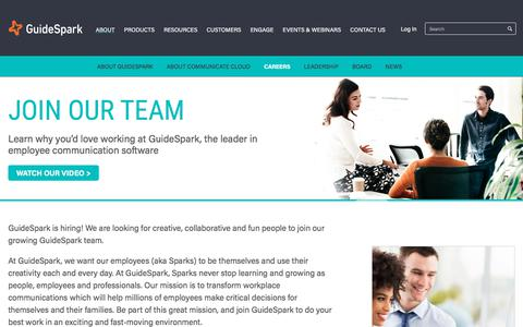 Screenshot of Jobs Page guidespark.com - Learn about careers at GuideSpark, the leader in employee communication software   GuideSpark - captured Jan. 17, 2018