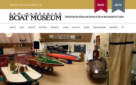 Screenshot of Hours Page nhbm.org - Admission - NH Boat Museum - captured July 7, 2018