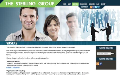Screenshot of Services Page sterlinggroup.com - Services | Sterling Group - captured Oct. 9, 2014