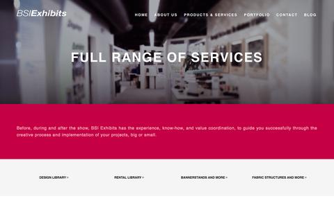 Screenshot of Services Page bsiexhibits.com - Products & Services | Berm Studios - captured Oct. 4, 2014