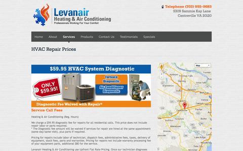 Screenshot of Pricing Page levanair.com - HVAC Repair Prices » Levanair - captured Oct. 26, 2014