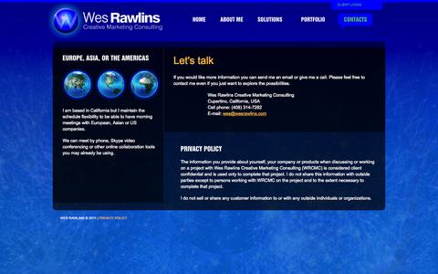 Screenshot of Privacy Page wesrawlins.com - contact - captured Oct. 26, 2014