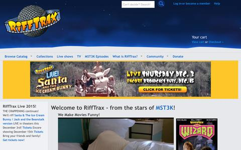 Screenshot of Home Page rifftrax.com - RiffTrax = The MST3K 'Mystery Science Theater 3000' stars today! - captured Dec. 5, 2015