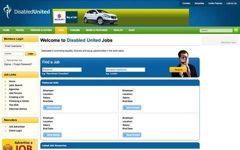 Screenshot of Jobs Page disabledunited.com - Disability Jobs | Disability Organizations | Disability Jobs at Home | Disability Job Search - Disabled United - captured Oct. 5, 2014