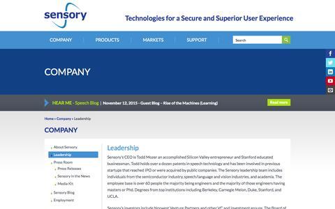 Screenshot of Team Page sensory.com - Leadership | Sensory - captured Nov. 18, 2015