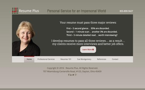 Screenshot of Home Page resumeplus.com - Resume Plus - Personal Service for an Impersonal World - captured Jan. 11, 2016
