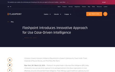 Screenshot of Case Studies Page flashpoint-intel.com - Flashpoint - Flashpoint Introduces Innovative Approach for Use Case-Driven Intelligence - captured Nov. 12, 2019