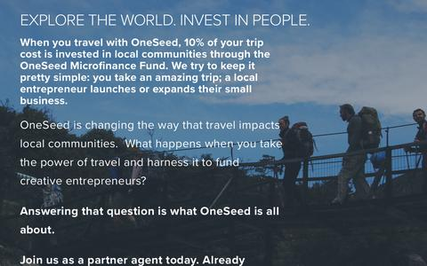Screenshot of Signup Page oneseedexpeditions.com - Agent Landing Page — OneSeed Expeditions - captured May 9, 2017