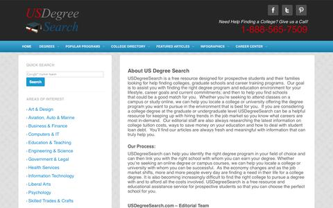 Screenshot of About Page usdegreesearch.com - About - UsDegreeSearch.comUsDegreeSearch.com - captured Sept. 24, 2014