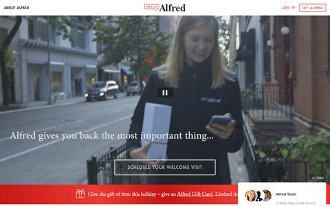Screenshot of Home Page helloalfred.com - Alfred   Home - captured Dec. 11, 2015