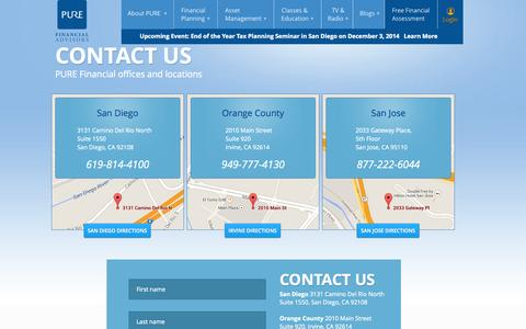 Screenshot of Maps & Directions Page purefinancial.com - Contact Pure Financial Advisors | Pure Financial Locations and Directions - captured Nov. 2, 2014