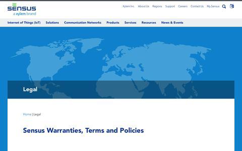 Screenshot of Terms Page sensus.com - Sensus: Legal - captured Oct. 19, 2017