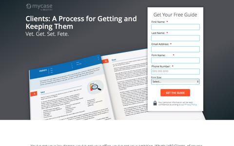 Screenshot of Landing Page mycase.com - Clients: A Process for Getting and Keeping Them :: MyCase Legal Resources - captured March 13, 2018