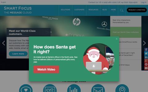 Screenshot of Home Page smartfocus.com - The Message Cloud | SmartFocus - captured Dec. 6, 2015