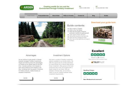 Screenshot of Home Page ardenforestry.co.uk - Arden Forestry |UK Forestry Investment | London - captured Sept. 24, 2016