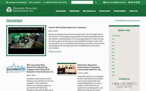 Screenshot of Press Page electronicrecyclers.com - Articles - News Room | Electronic Recyclers International, Inc. - captured Oct. 2, 2014