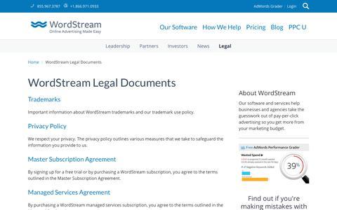 WordStream Legal Documents   WordStream