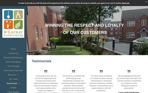 Screenshot of Testimonials Page 4thcorner.co.uk - 4th Corner Landscaping, Grounds Maintenance, Testimonials - captured Oct. 20, 2018