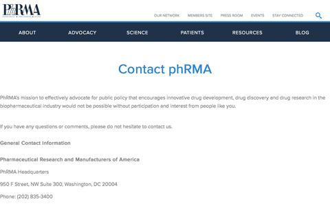 Screenshot of Contact Page phrma.org - Contact PhRMA   PhRMA - captured Sept. 6, 2019